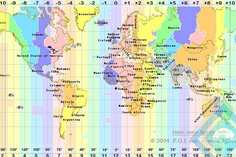 اختلاف ساعت ایران و جهان